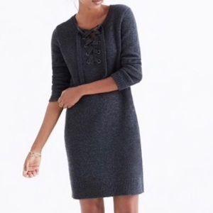 Madewell Marino Wool Lace Up Neck Sweater Dress